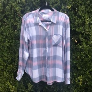 Rails Hunter Mulberry blue plaid shirt.